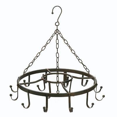 (black small round mini iron metal Hanging cooking Pot Rack pan Holder Hanger)