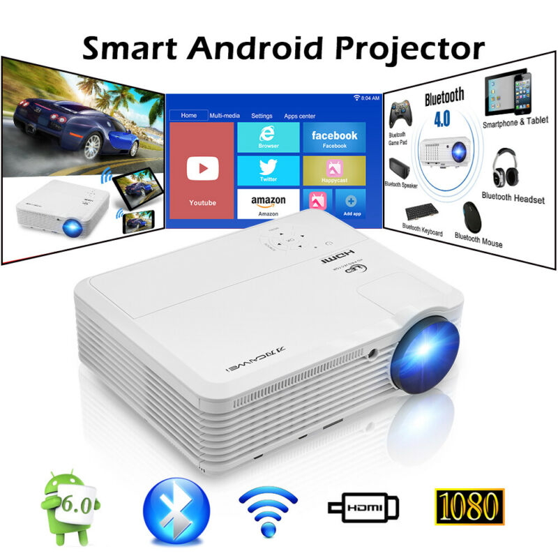 CAIWEI 6000 LUMENS Android 6.0 Projector WIFI Blue-tooth HD 1080P Movie USB HDMI