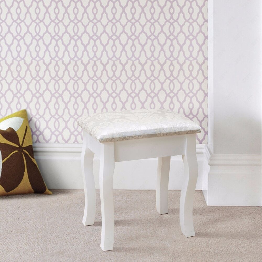 vintage retro white dressing table stool padded chair makeup piano seat ebay. Black Bedroom Furniture Sets. Home Design Ideas