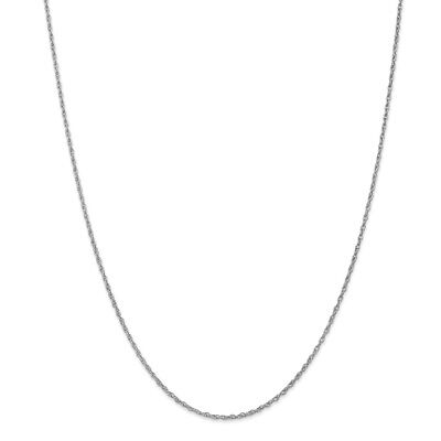 Real 14kt White Gold 1.3mm Heavy-Baby Rope Chain; 18 inch 18 Inch Baby Rope Chain