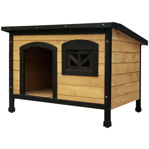 104cm Pet Dog Kennel Outdoor Wooden Timber Large Size with Elevated Floor Black