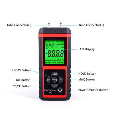 Digital Manometer Differential Pipes Air Pressure Meter 2.999psi High Kpa Gauge