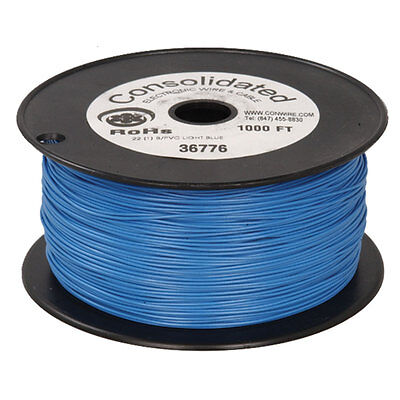 22 Awg Blue Solid Tinned-copper Hook-up Wire 1000 Feet