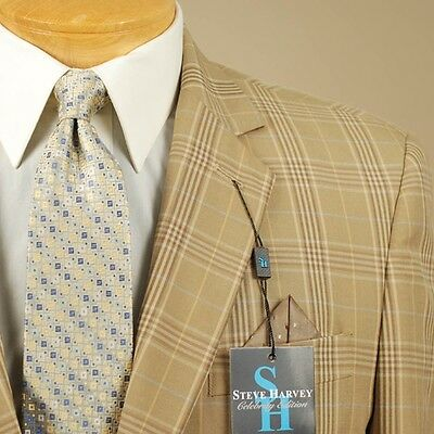 44R STEVE HARVEY Dark Gold Plaid Sport Coat - 44 Regular - SB09, used for sale  Spring