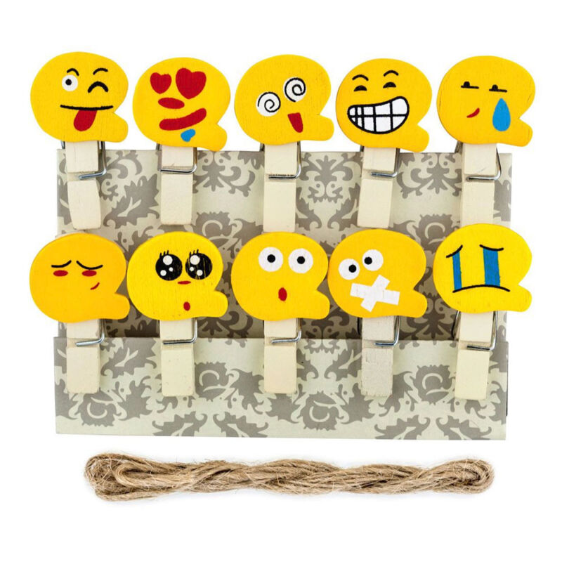 Xit Emoji Faces Photo Peg Pins For Fuji Instax Photos Wooden Craft Clips 10 Pack