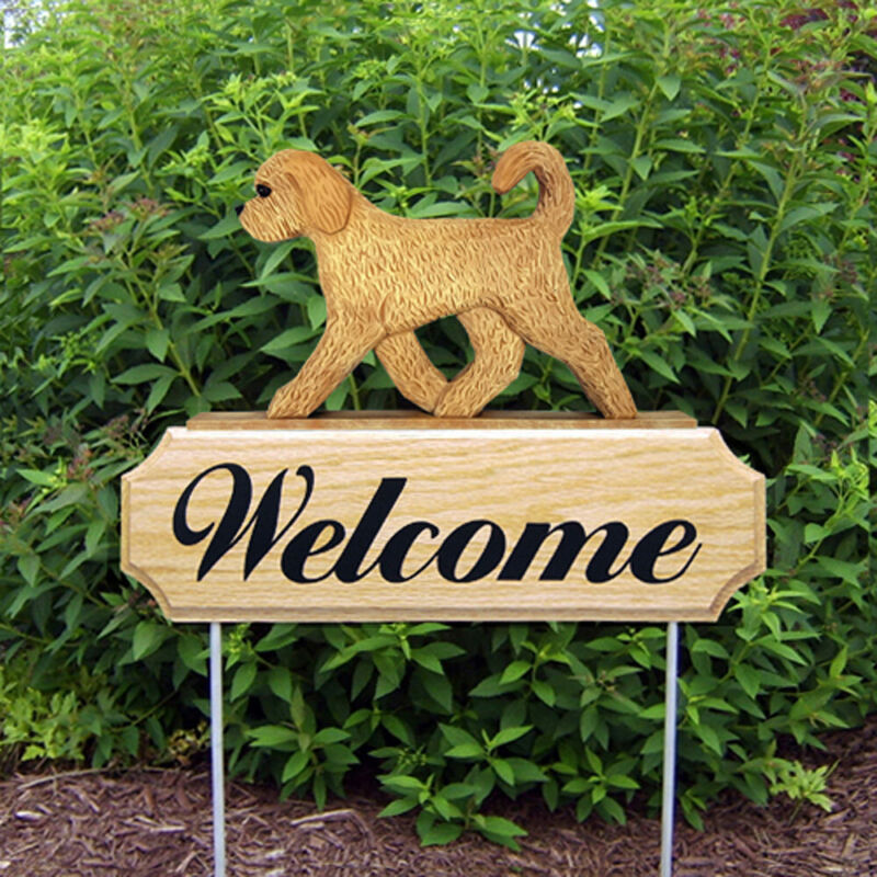 Goldendoodle Wood Welcome Outdoor Sign Blonde