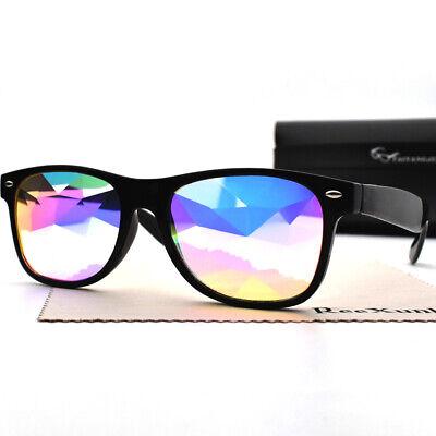 Festival Rave Kaleidoscope Rainbow Square Glasses Prism Diffraction Crystal Lens