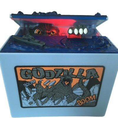 Cool Musical Automatic Godzilla Bank Stealing Coin Moving Dinosaur Monster
