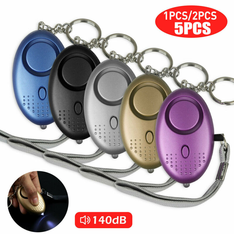 5 PCS Emergency Personal Alarm Keychain 140dB Safe Self-Defense with LED Light