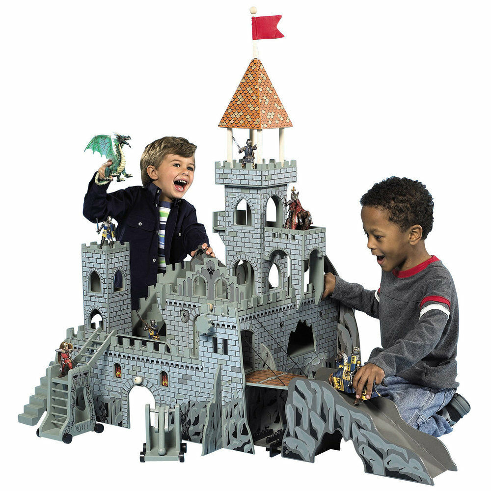 Toy Castles For Toddler Boys : Wooden medieval castle boys toy large battle knights