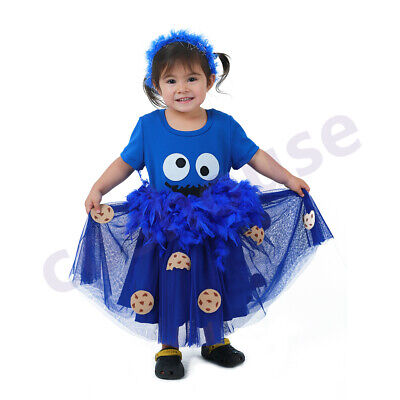 Child Halloween Chocolate Chip Cookie Biscuit Costume Dress Blue Dress (Halloween Biscuits)