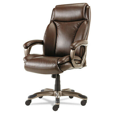 Alera Executive Highback Leather Chair Coil Spring Cushioning Brown Vn4159 New