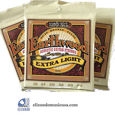 Ernie Ball 2006 Earthwood Extra Light Acoustic Guitar Strings 3 Sets