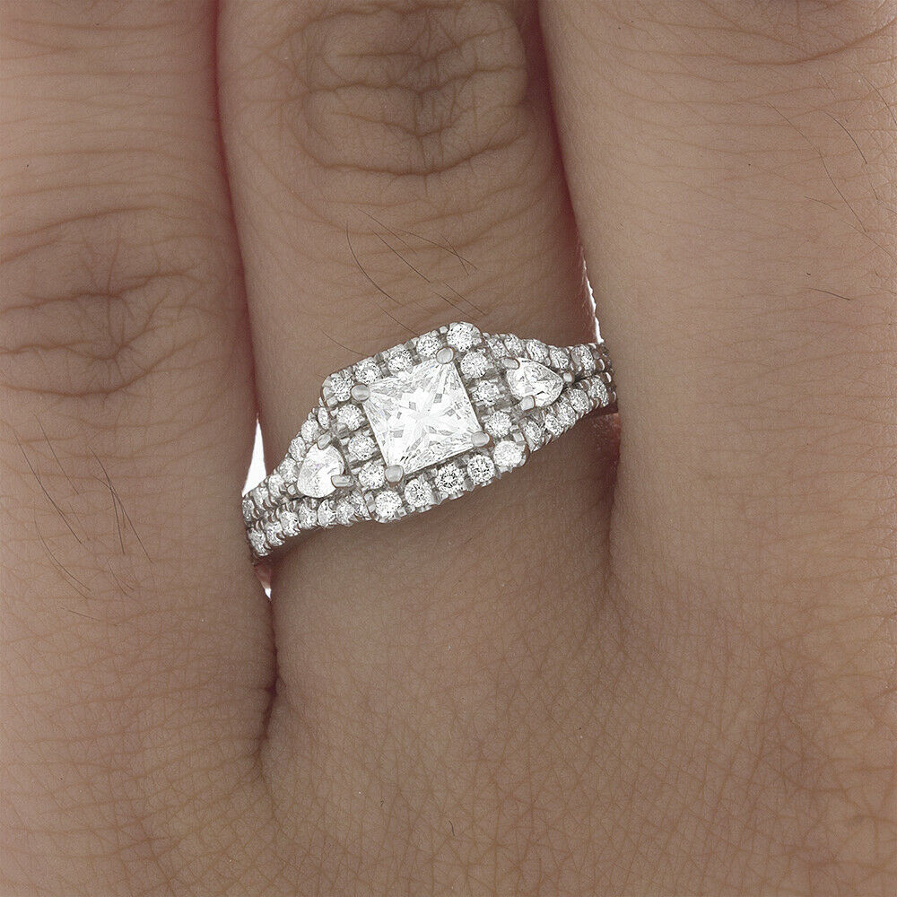 GIA Certified Diamond 3 Stone Engagement Ring2.15CT Princess Cut 18k White Gold