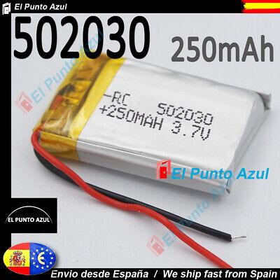 BATERÍA 502030 3.7V 250mAh LiPo 2 Cables teléfono bluetooth e-book GPS Dashcam★