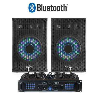 "Pair of 10"" Passive PA Speakers and Amplifier Mobile DJ Built-In Lights 1000w"