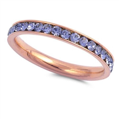 Rose Gold Lavander Eternity Band Stainless Steel Ring Sizes