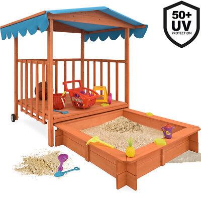 Sandkasten mit Dach Spielveranda Holz XL Kinder Spielhaus Sandbox UV-Schutz> 50