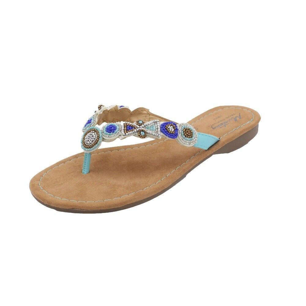 MUSTANG SHOES Damen Zehentrenner Sandale Flip-Flops Blau / Hellblau