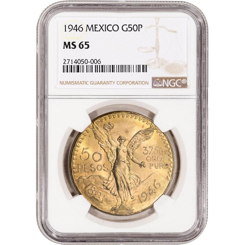 1946 Mexico Gold 50 Pesos - NGC MS65