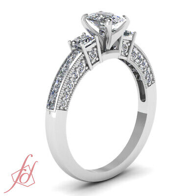 1.6 Ct Cushion Cut:Very Good Diamond 3 Stone Channel Set Engagement Ring 14K GIA 2