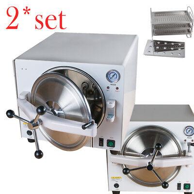 2 Pcs 18l Medical Autoclave Steam Sterilizer Dental Sterilizer Lab Equipment Fda