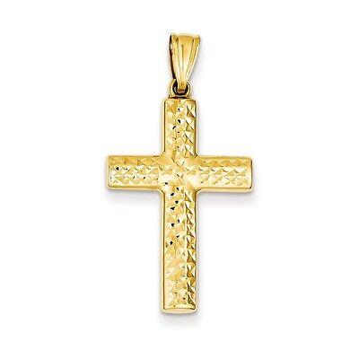 14k Yellow Gold Polished & Diamond-Cut Reversible Cross Charm Pendant  1.4 inch Cut Reversible Cross Pendant