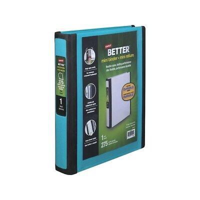 Staples Better Mini 1-inch D 3-ring View Binders Teal 20948 924440
