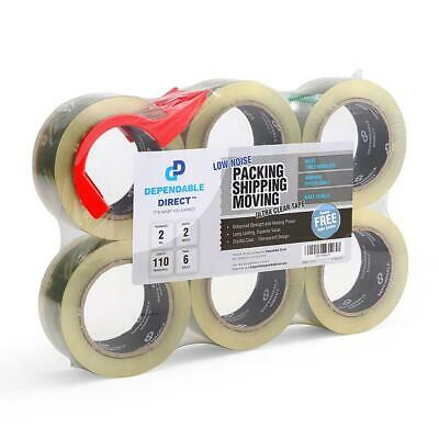 Ultra Quiet, Industrial Grade Clear Packing Tape (6 Rolls) - 110 Yards per...