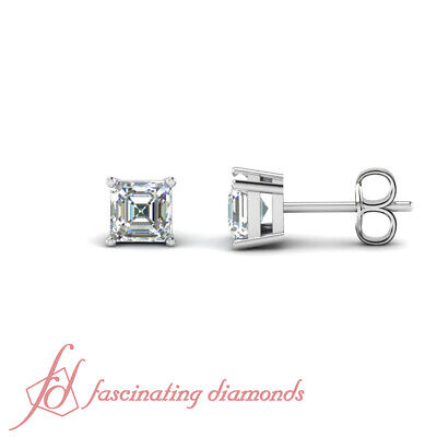 1.20 Ct Asscher Cut Diamond 14k White Gold Stud Solitaire Earrings Flawless GIA