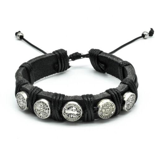 Saint St Benedict Medals Leather Bracelet Christian Adjustable Fashion Jewelry