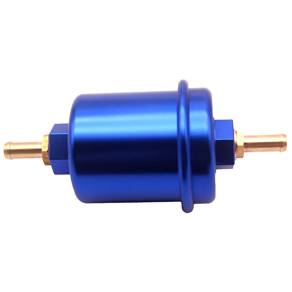 Blue Universal Fuel Filter Inline High Flow 100 Micron Cleanable Stainelss Mesh