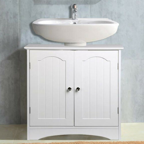 white wooden bathroom wall mount storage cabinet under