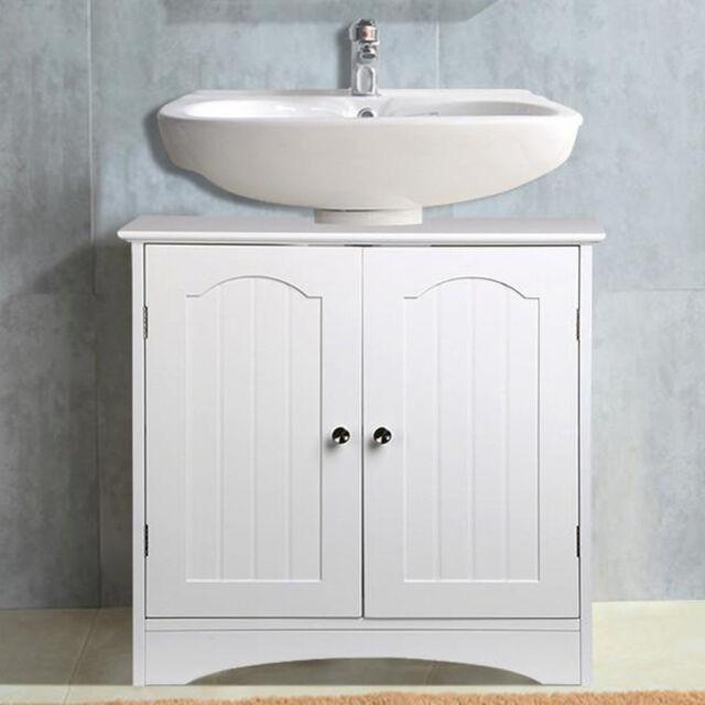 White Wood Bathroom Furniture Part - 35: Brand New Under Sink Basin Storage Unit In White Wood Bathroom Furniture  Cabinet