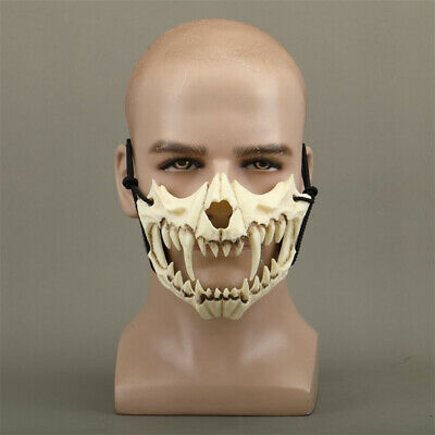 The Japanese Dragon God Cosplay Mask Resin White Skull Scary Half Face Halloween