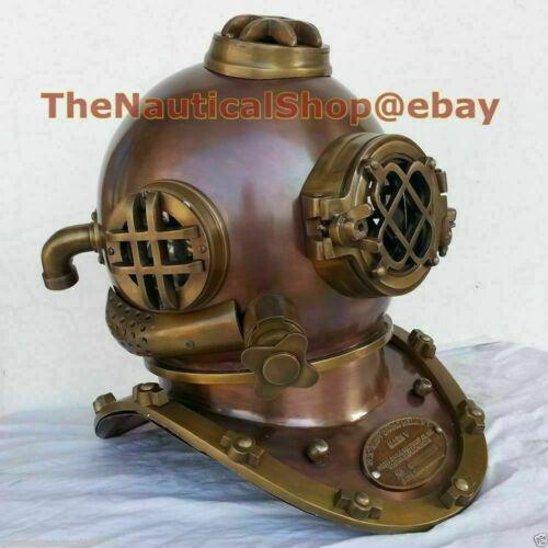 Copper Antique Boston Diving Divers Helmet Deep Scuba Boston Divers Navy Mark