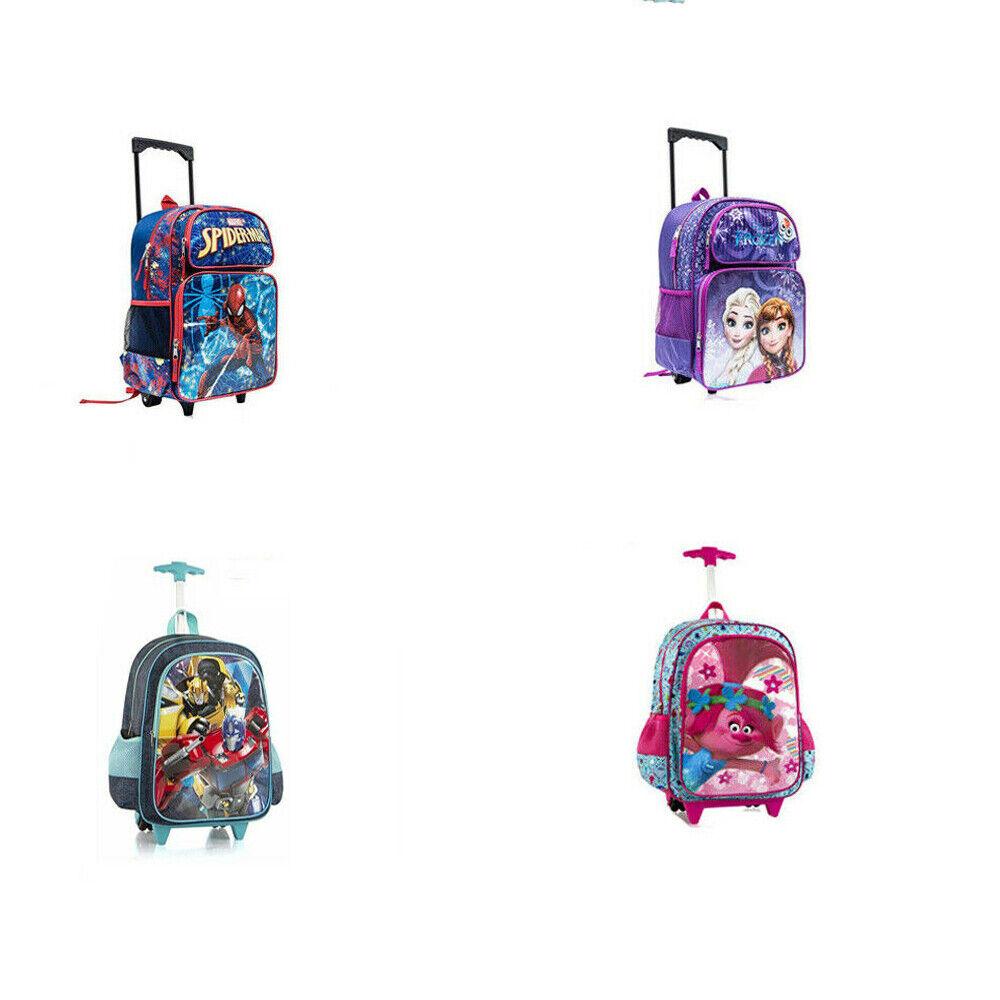 Lightning McQueen Cars School Large Rolling Blue Backpack Bag Kids Boys Girls