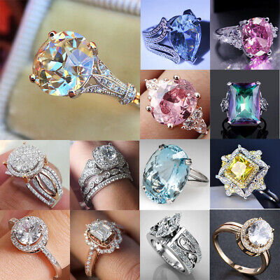 Women Engagement Wedding Ring Crystal Rhinestone Silver Plated Rings Jewelry Lot Crystal Rhinestone Bridal Rings