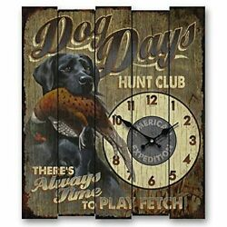 American Expedition Wall Clock Dog Black Lab Wood Pheasant Hunting Lodge Rustic