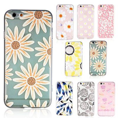 Summer Cute Flower Pattern Soft TPU Clear Girly Case For iPhone 7 6 6S Plus Gift](Girly Gifts)