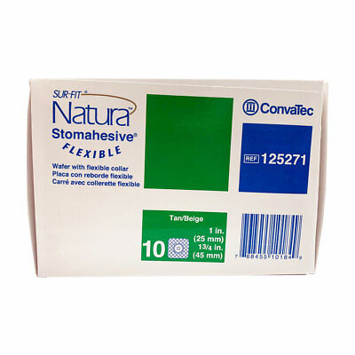 """10 ConvaTec #125271 Sur-Fit Natura Stomahesive 1"""" Stoma 1 3/4"""" Flange Ships Free"""