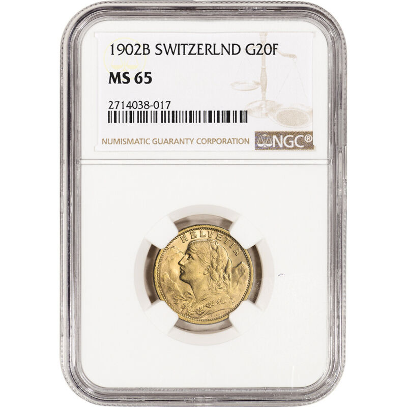 1902 B Switzerland Gold 20 Francs - NGC MS65