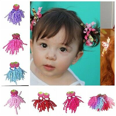 2Pc Colorful Hair Band Ponytail Holder With Ribbon Bow Girls Kids Baby Handmade