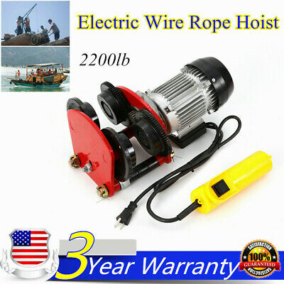 2000lb Electric Wire Rope Hoist W Trolley 4ft Lift I-beam Heavyduty 110v