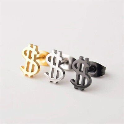 1 Pair US Dollar Sign Money Gold Silver Screwback Tiny Stud Earrings Jewelry