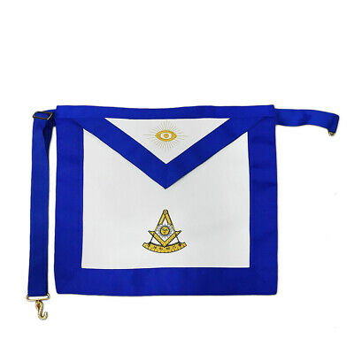 Masonic Past Master LEATHER Cover Apron Compass Square Regalia Hand Embroidered (Master Cover)