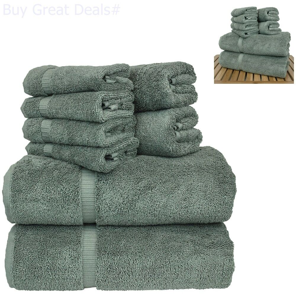 Linen 8-Piece Turkish Cotton Towel Set With 2 Bath, Towel 2,
