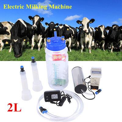 2l Portable Electric Milking Machine Set Farm Cow Sheep Goat Vacuum Milking Us