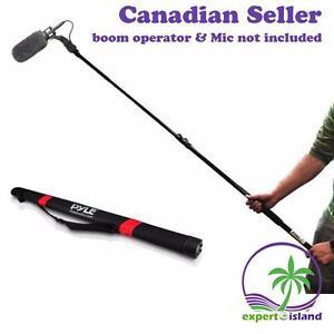PYLE PMKSB12 Microphone Shotgun Fishing Boom Pole holder w/ Extending Length Adjustable Telescoping Mic Arm