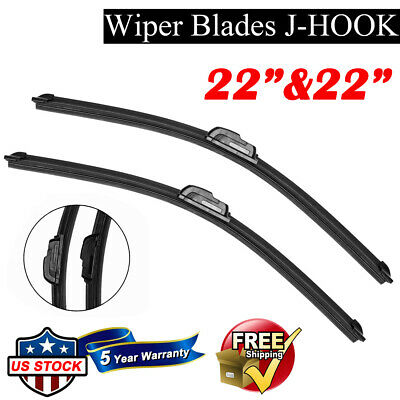 22  22 BRACKETLESS WINDSHIELD WIPER BLADES All Season Premium OEM QUALITY New